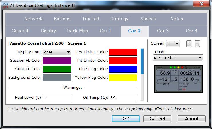Z1 Dashboard : Car Settings